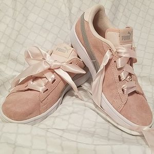 Pink + Grey Pumas with Pink Ribboned Laces